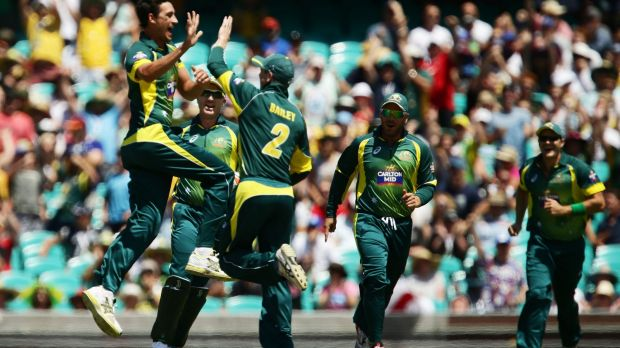 Jump for joy: Mitchell Starc celebrates a first ball wicket