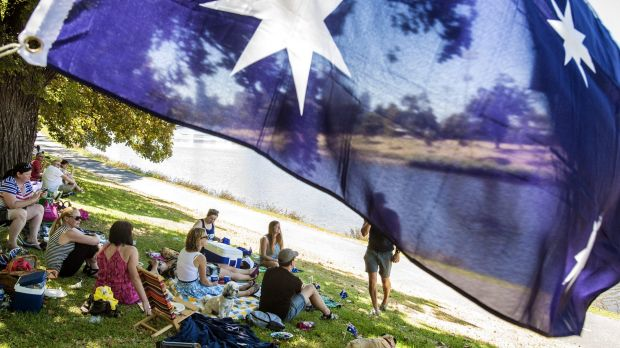 People enjoying Australia Day on the banks of the Yarra in 2014.