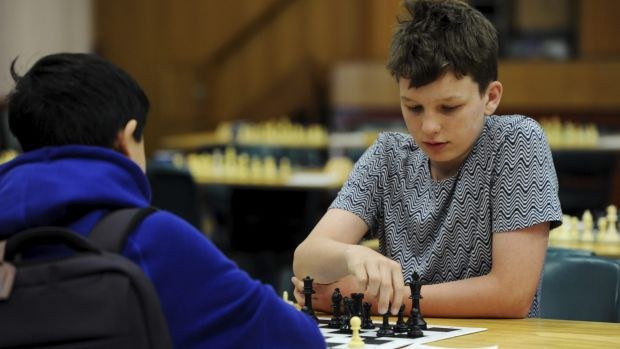 Henry Slater-Jones, 12, of Brisbane, is competing in the Australian Junior Chess Championships at Canberra Boys ...