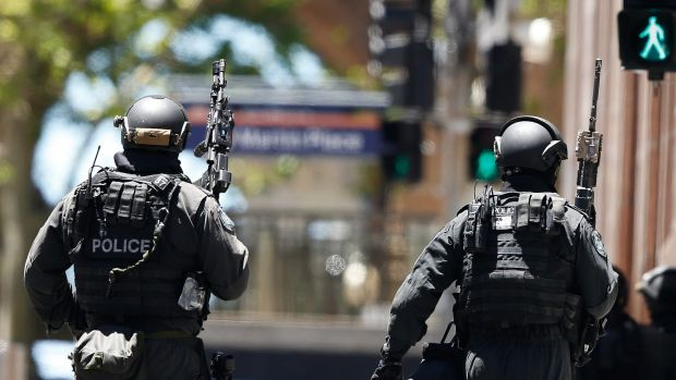 Police on high alert during the Martin Place siege.