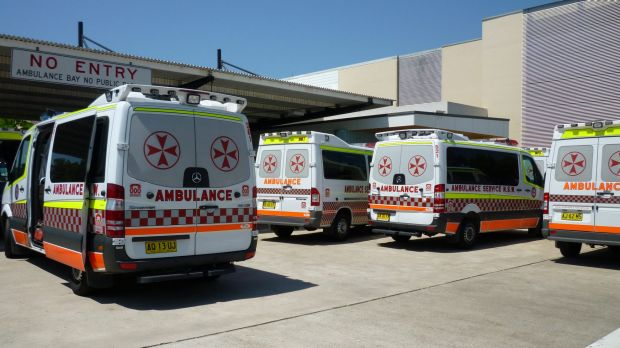 Ambulances at Blacktown Hospital.