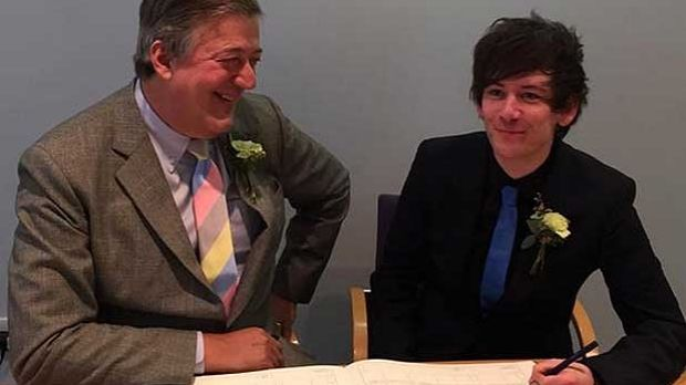 Happy couple: Stephen Fry has married Elliot Spencer.