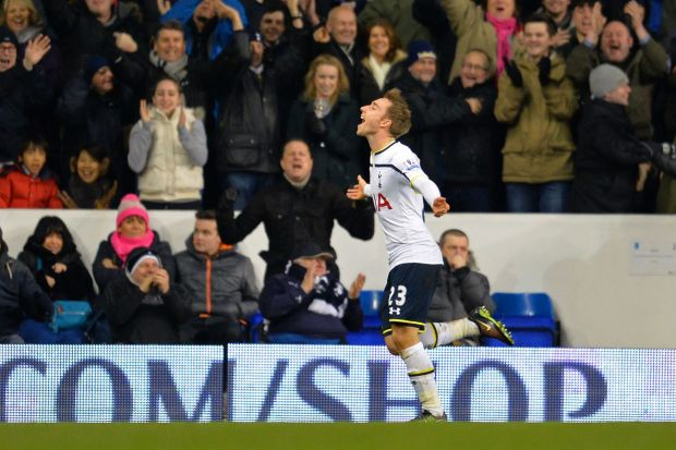 Victory run: Tottenham Hotspur's Danish midfielder Christian Eriksen celebrates scoring the winning goal against ...