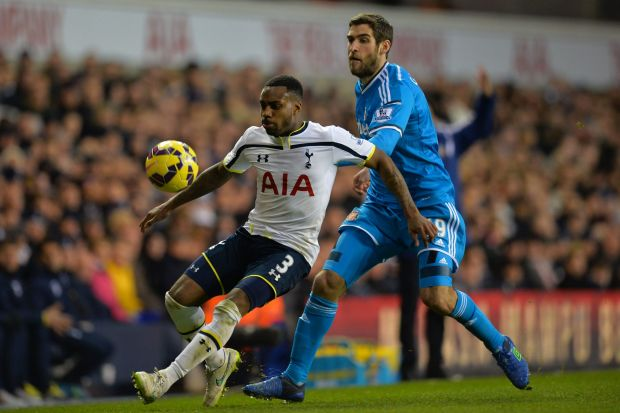 Close attention: Tottenham Hotspur defender Danny Rose vies with Sunderland striker Danny Graham.
