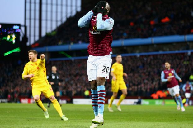 So close: Christian Benteke of Aston Villa reacts to a missed chance during the Barclays Premier League match against ...