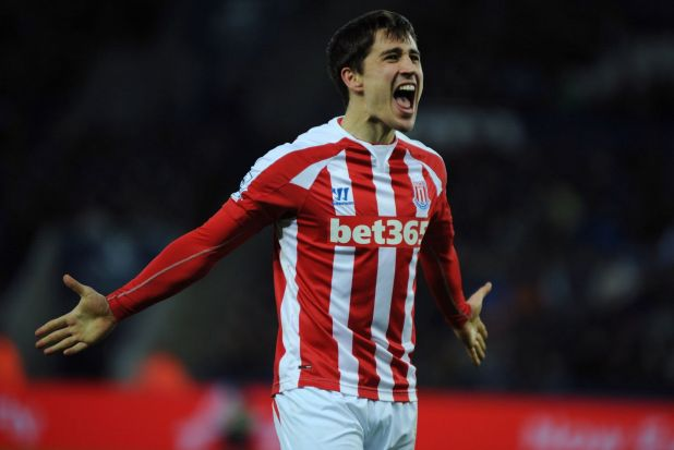 Breakthrough: Stoke City's Bojan Krkic celebrates scoring against Leciester City at the King Power Stadium, Leicester.