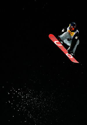 Aerial artist: Scotty James flies high during the halfpipe final.