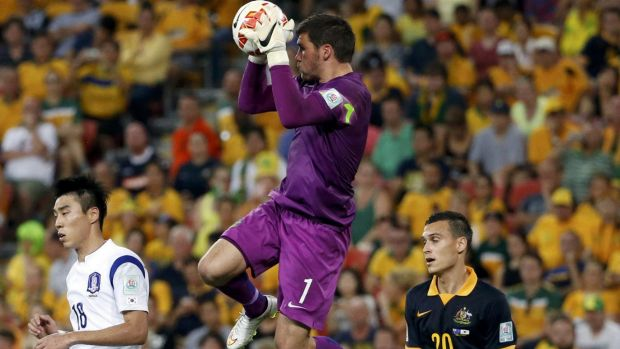 Higher honours beckon: Mat Ryan claims the ball in the Socceroos' loss to South Korea.