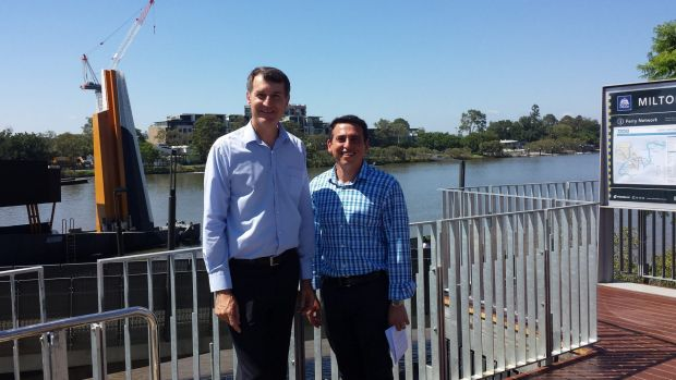 Lord Mayor Graham Quirk and Cr Peter Matic at the new Milton terminal.