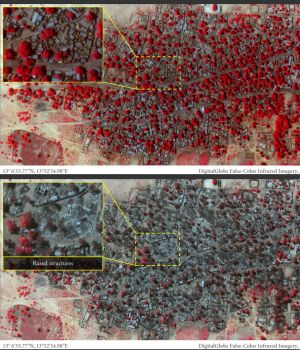 A satellite photo provided by human rights group Amnesty International purports to show destruction in the village of ...