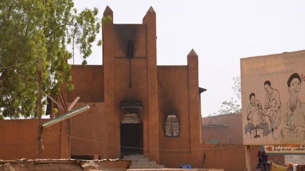 A church that was set on fire by protesters in Niamey, the capital of the West African state of Niger.