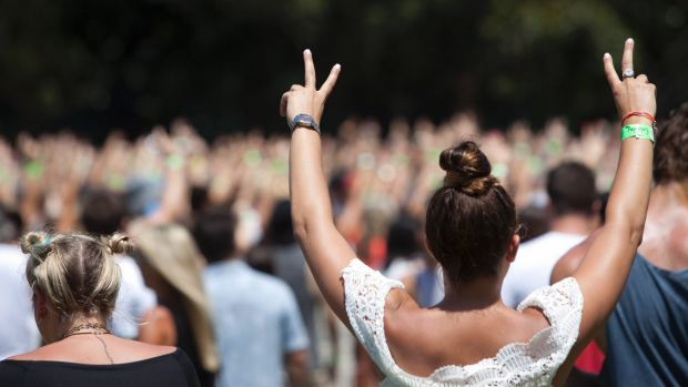 Revellers at the Field Day music festival held at The Domain.