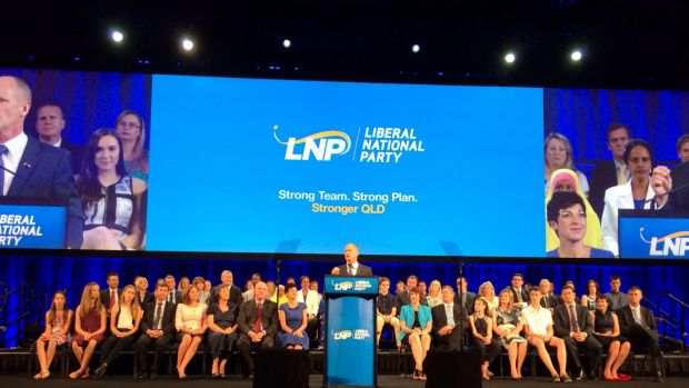 Prime Minister Tony Abbott and Julie Bishop were notable absentees at the LNP election campaign launch.