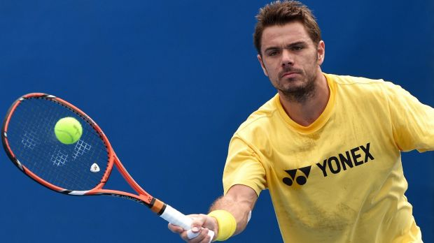 Stan Wawrinka hits a forehand volley during a practice session at Malbourne Park on Sunday.