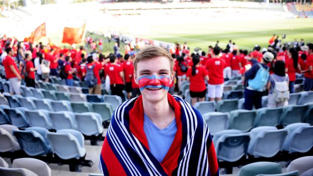 Oliver,16, at Canberra Stadium in Bruce to see China take on North Korea in the AFC Asia Cup.