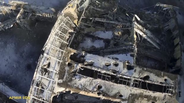 An aerial photo shot by a drone shows the damaged terminal building at Donetsk Airport.