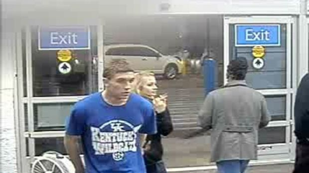 Dalton Hayes and Cheyenne Phillips captured on security video outside a Wal-Mart in South Carolina.