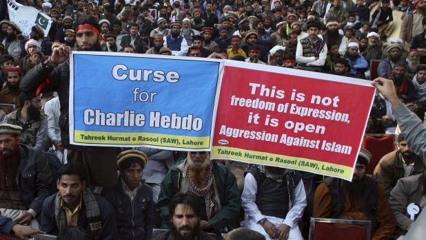 A rally against the French magazine Charlie Hebdo attracted thousands of protesters in Lahore on Sunday.
