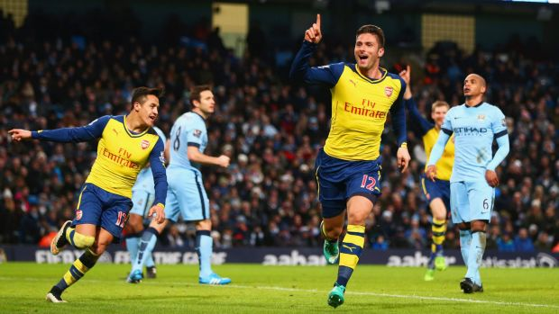 Arsenal's Olivier Giroud celebrates his goal against Manchester City on Sunday.
