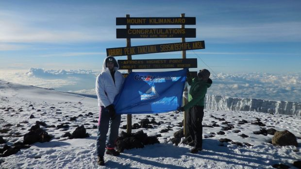 After a gruelling climb, Cody Hudson made it to the summit of Mount Kilimanjaro.