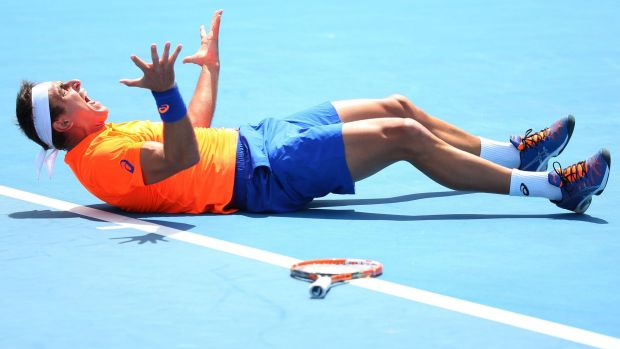 Breakthrough: Marinko Matosevic after winning his first ever match at the Australian Open.