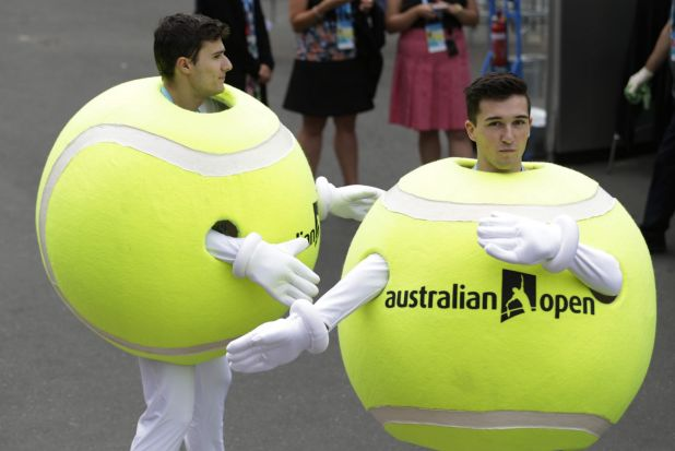 Having a ball: Fans at the Australian Open in Melbourne dress appropriately for tennis, perhaps.