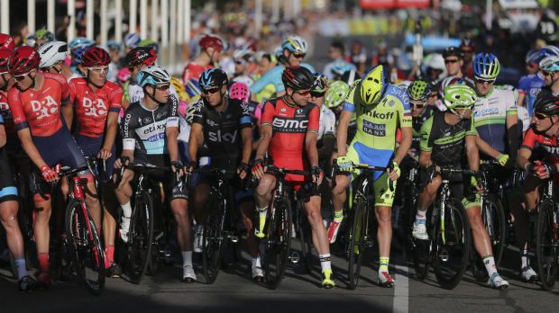 Old hand: Cadel Evans, centre, at the start line for the People's Choice Classic ahead of the 2015 Tour Down Under.