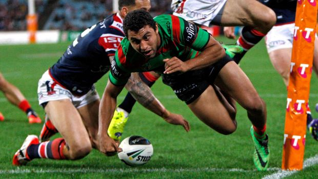 Big call: Alex Johnston, seen here scoring a try despite the tackle of Sonny Bill Williams, could be a long-term star.