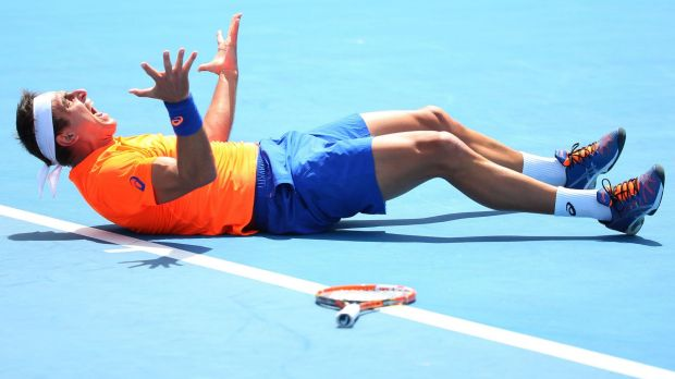 Passionate: Marinko Matosevic celebrates winning his first-round match against Alexander Kudryavtsev of Russia.