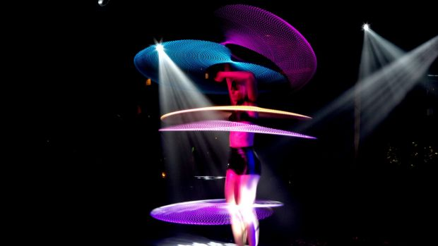 Burlesque: An LED-lit hula hooper is one of the acts in the X Studio's new Friday night show.