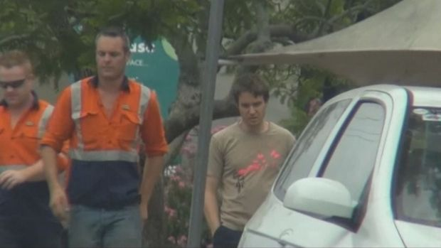 Grab from ICAC released footage from outside the Greengate Hotel in Sydney.
