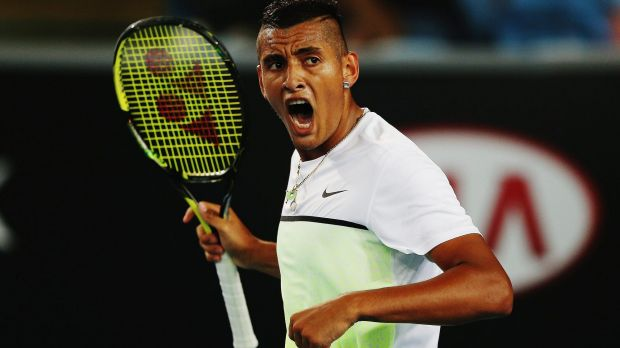 Nick Kyrgios celebrates a point during day one of the Australian Open.