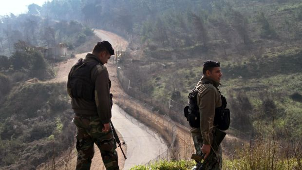 Lebanese soldiers patrol the Lebanese-Israeli border in the southern village of Odaisa, Lebanon.