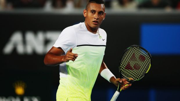 Brilliant: Nick Kyrgios in fashion-conscious white and green.