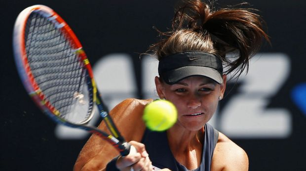 Casey Dellacqua in action on day two.