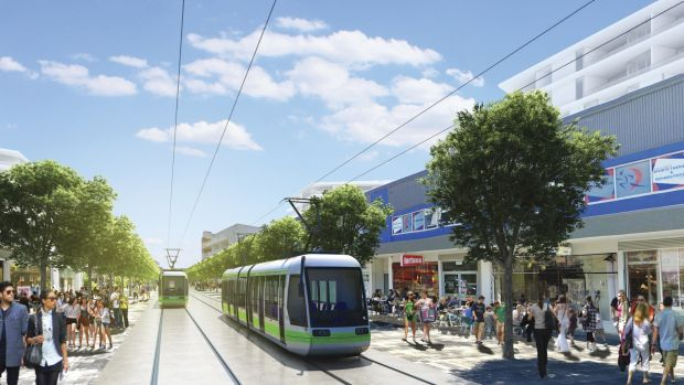 An artist's impression of the proposed light-rail line in Gungahlin.