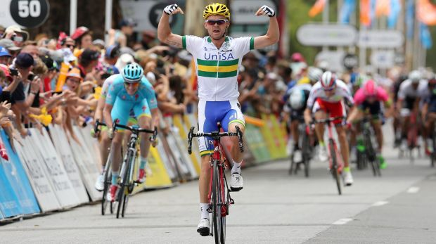 Pleased as punch: Jack  Bobridge celebrates after winning stage 1 of the Tour Down Under.