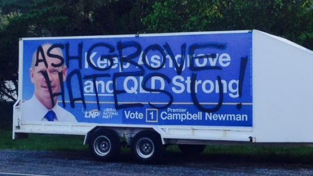 A mobile billboard parked on Settlement Road at The Gap.