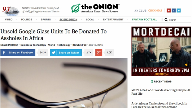 An example of a a fake news story from The Onion.