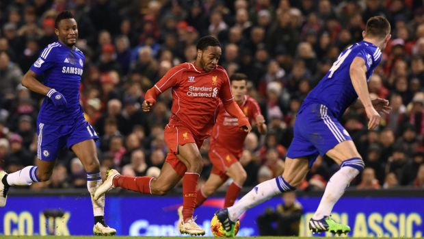 Sterling slices through the Chelsea defence in the leadup to the Reds' equaliser.