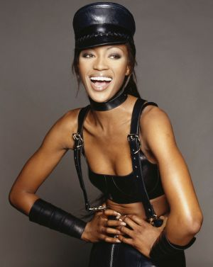 Popped: Naomi Campbell demonstrating the pop a clavicle pose.