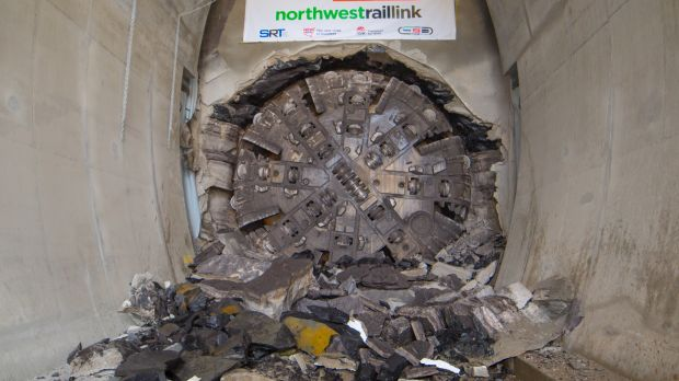 The first tunnel boring machine breaking through at Norwest.