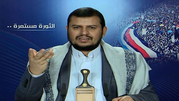 Yemeni Shiite leader Abdel Malik al-Houthi addresses the nation in a video broadcast by the Lebanese Shiite movement ...