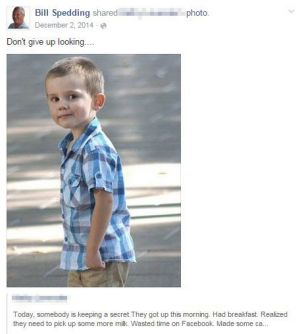 A Facebook post from William Harrie Spedding on missing toddler William Tyrell.