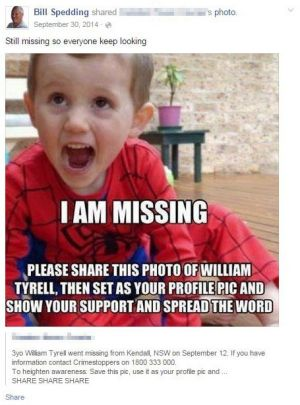 A Facebook post from William Spedding on missing toddler William Tyrell.