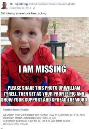 A Facebook post from William Spedding about missing toddler William Tyrell.