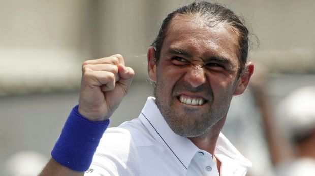 Feeling the love: Marcos Baghdatis at the Australian Open on Wednesday.