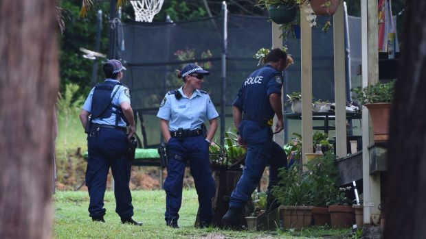 Police at a house in Bonny Hills.