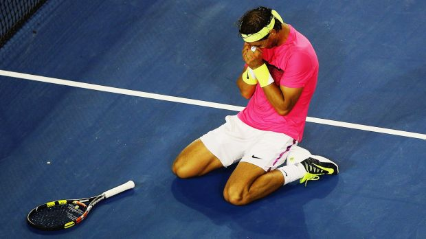 The moment: Rafael Nadal savours the win.