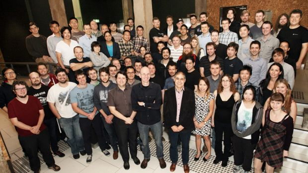 Think big: The BigWorld, Wargaming Australia, team with CEO Steve Wang and COO Symon Hayes in the foreground.